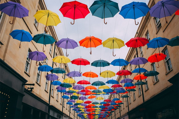 vibrant umbrella colors